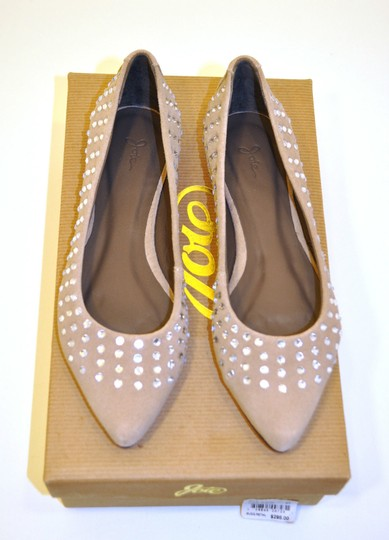 Joie Ballerina Suede Studded Crystal Tan Flats Image 4