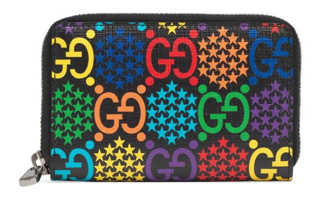 Item - Unisex Gg Psychedelic Zip Card Case Red Yellow Black Multi Canvas Clutch