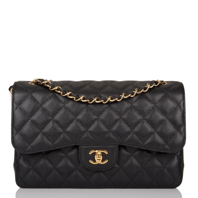 Item - Classic Flap Quilted Caviar Jumbo Classic Double Gold Hardware Black Leather Shoulder Bag