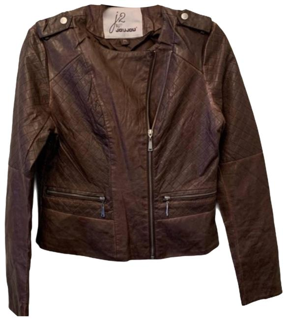 Item - Brown Faux Leather Jacket Size 8 (M)