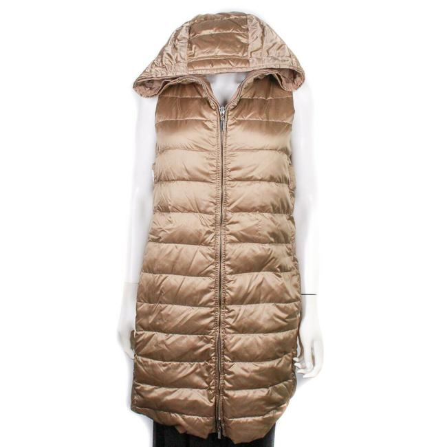 Item - Brown Long Reversible Puffer Vest Metallic Hooded Zip Us Coat Size 6 (S)