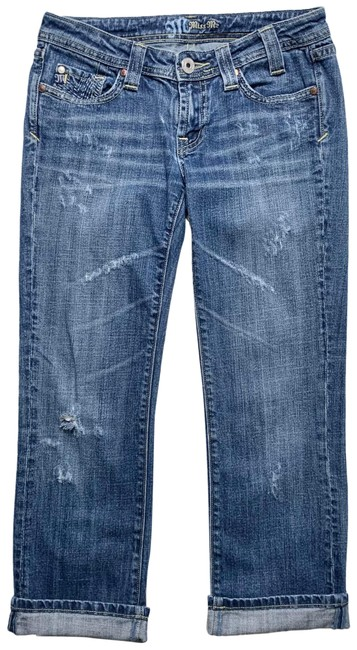 Item - Blue Medium Wash Distressed Logo Capri/Cropped Jeans Size 4 (S, 27)