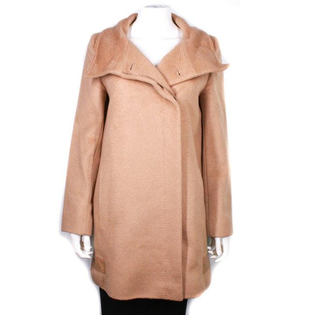 Item - Light Brown Women's Long Coat Wool Belted Button Wrap Us - 42 Poncho/Cape Size 4 (S)