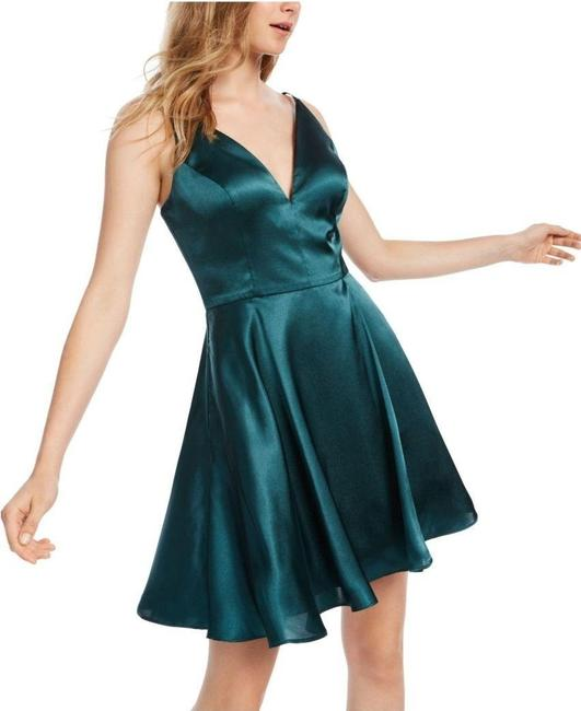 Item - Green A-line Pine Junior's Lace-up Back Cocktail Dress Size 2 (XS)