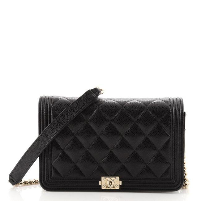 Item - Boy Wallet on Chain Quilted Caviar Black Leather Cross Body Bag