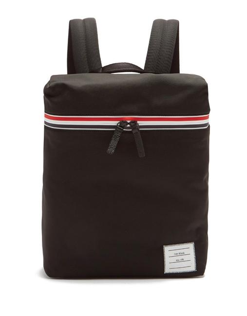 Item - Tricolor Striped Small Black Canvas Backpack
