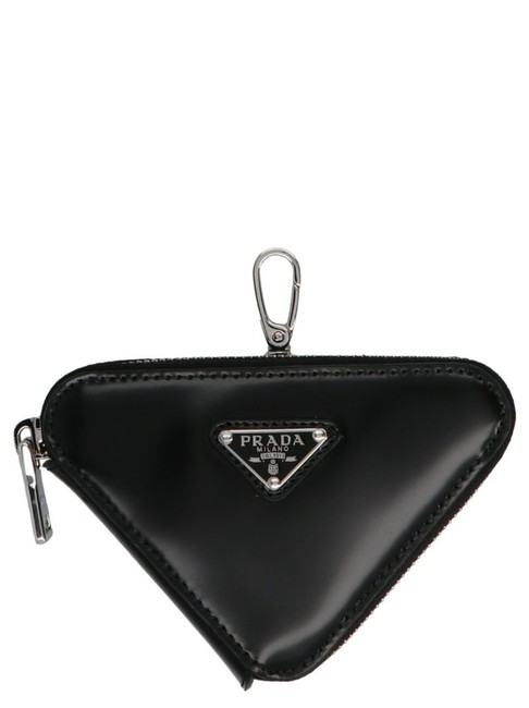 Item - Snap Hooked Triangle Mini Pouch Black Leather Wristlet