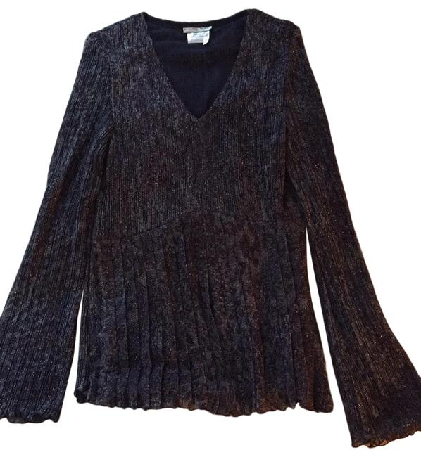 Item - Dark Blue Sparkly Pleated Shirt with Fluted Sleeves Blouse Size 14 (L)