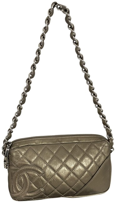 Item - Club 31521 Quilted Cotton Pochette Small Bronze Lambskin Leather Shoulder Bag