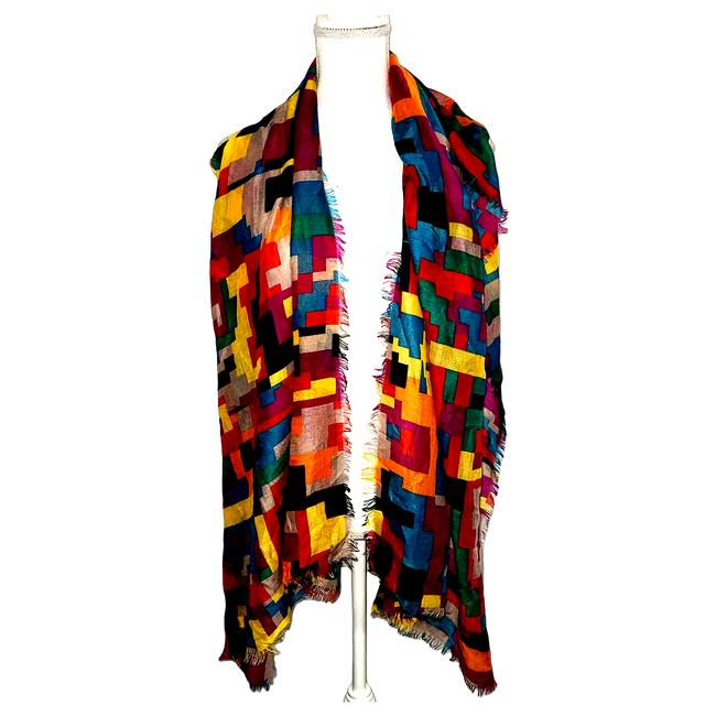 Item - Red Womens Multicolored Geometric Scarf/Wrap