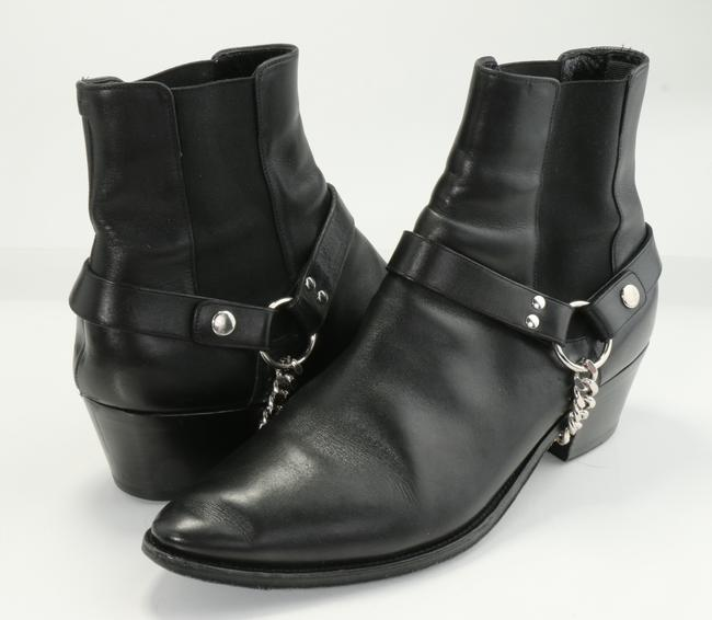 Item - Black Homme Chain-embellished Leather Chelsea Boots Shoes
