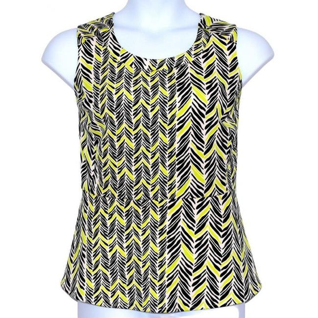 Item - Yellow Swim Friendly 1x Black Abstract Chevron Print Tank Top/Cami Size 20 (Plus 1x)