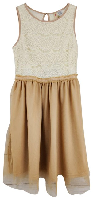Item - White Lace Tulle Fit & Flare Mini Short Casual Dress Size 8 (M)