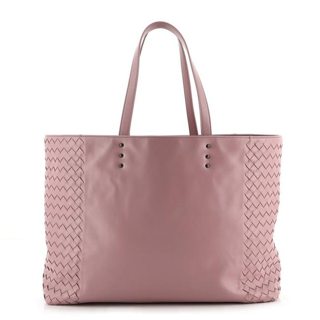 Item - Open Top with Vertical Intrecciato Detail Medium Pink Leather Tote
