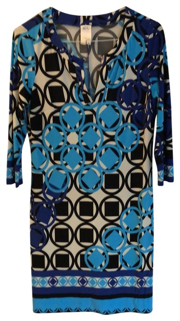 Item - Multi: Navy Turquoise Royal Blue and Cream. Short Casual Dress Size 10 (M)