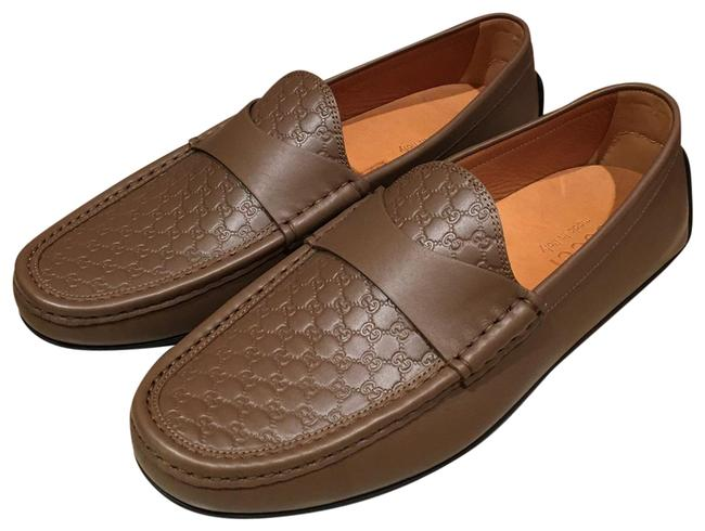 Item - Brown 466904 Micro Gg Leather Men Loafer Flats Size US 12.5 Regular (M, B)