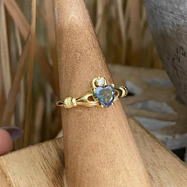 Item - Gold Plated Sterling Silver Rainbow Topaz Claddagh Ring
