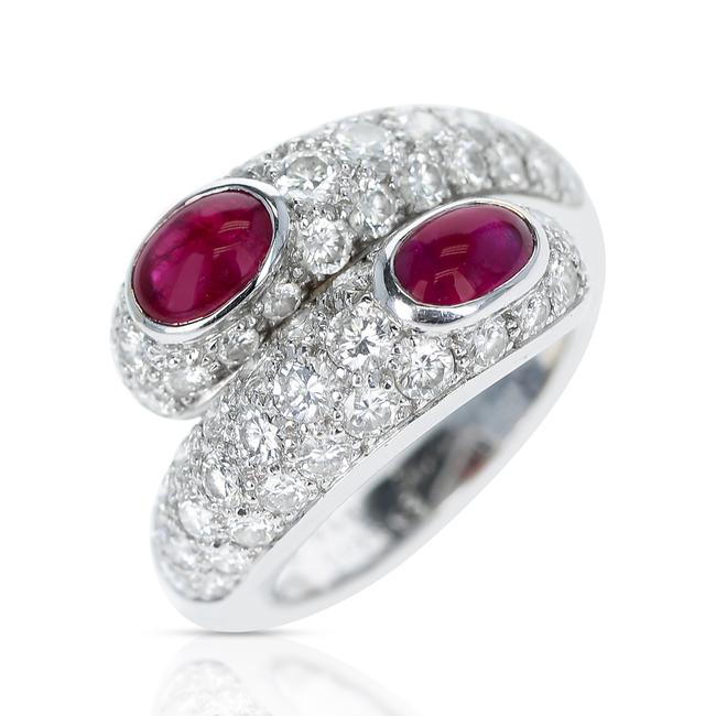 Item - Double Ruby Cabochon and Diamond with Paperwork 18k Ring