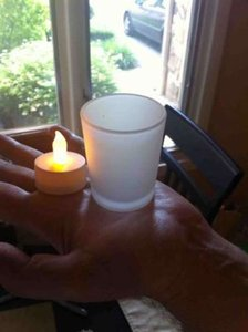 Quick Candles White Votive/Frosted Holder 130 Flickering Led Candles/Frosted Votive/Candle