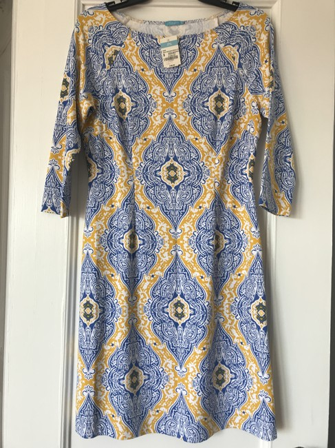Item - Blue and Yellow Mari Boatneck Shift In Marrakesh Print Mid-length Short Casual Dress Size 4 (S)