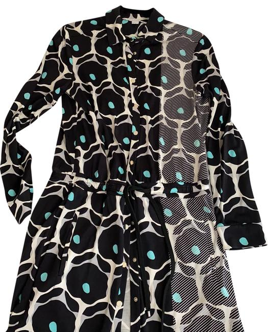 Item - Black Cream Turquoise Mid-length Work/Office Dress Size 8 (M)