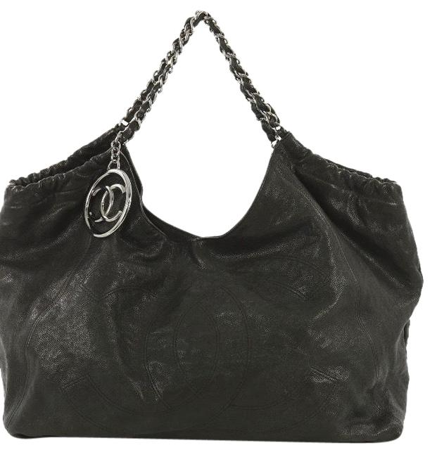Item - Coco Cabas XL Distressed Vintage Impossible To Find Black Caviar Leather Hobo Bag