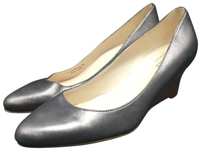 Item - Gray Grand Os Distressed Metallic Pointed Toe Pumps Wedges Size US 5.5 Regular (M, B)