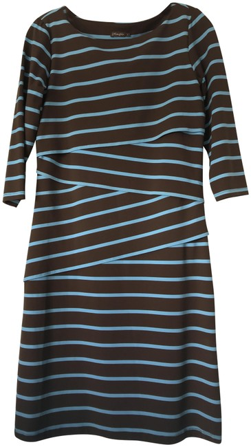 Item - Teal & Brown Nicola Collection Mid-length Short Casual Dress Size 4 (S)