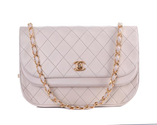 Item - Classic Crossbody Beige Quilted Small Flap Gold Cc Purse Ivory Leather Shoulder Bag