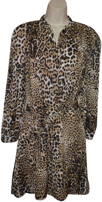 Item - Multicolor Animal Leopard Print Long Sleeve Short Casual Dress Size 6 (S)