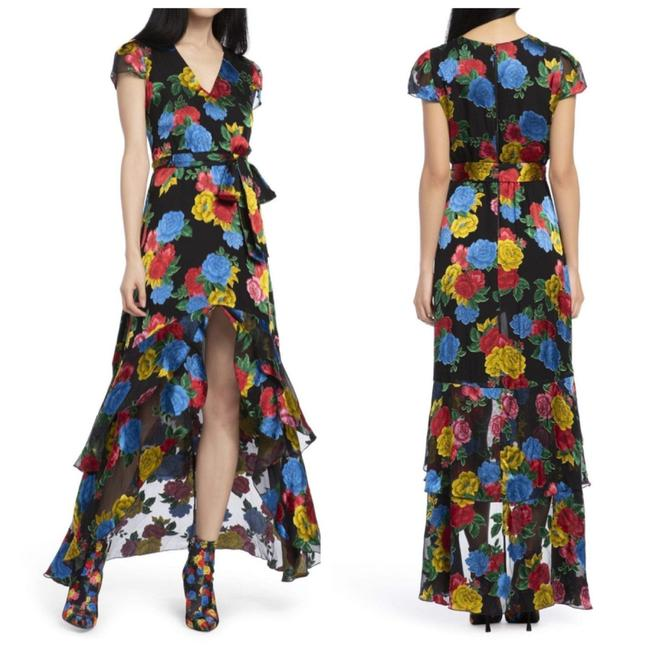 Item - Black And Erika Ruffle Midi Floral Printed Long Casual Maxi Dress Size 12 (L)
