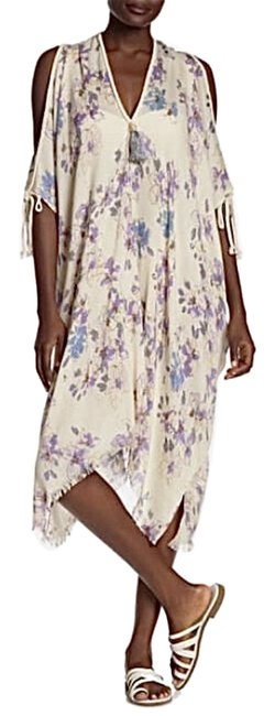 Item - Cream Pool To Party Purple Blue Floral Os Cover-up/Sarong Size 4 (S)