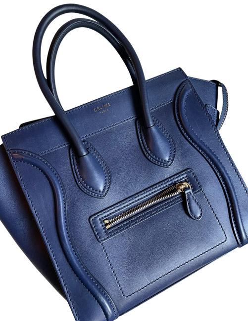 Item - Smooth Micro Navy Leather Tote