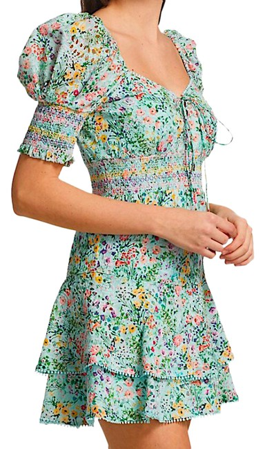 Item - Multi with Tag Crawford Floral Sweetheart Puff Sleeve Minidress Short Cocktail Dress Size 4 (S)