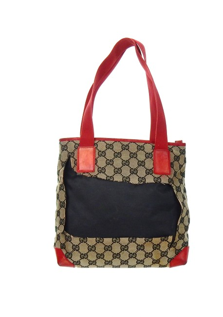 Item - Shopper Tote Brown and Burgundy Red Gg Monogram Canvas Patent Leather Shoulder Bag