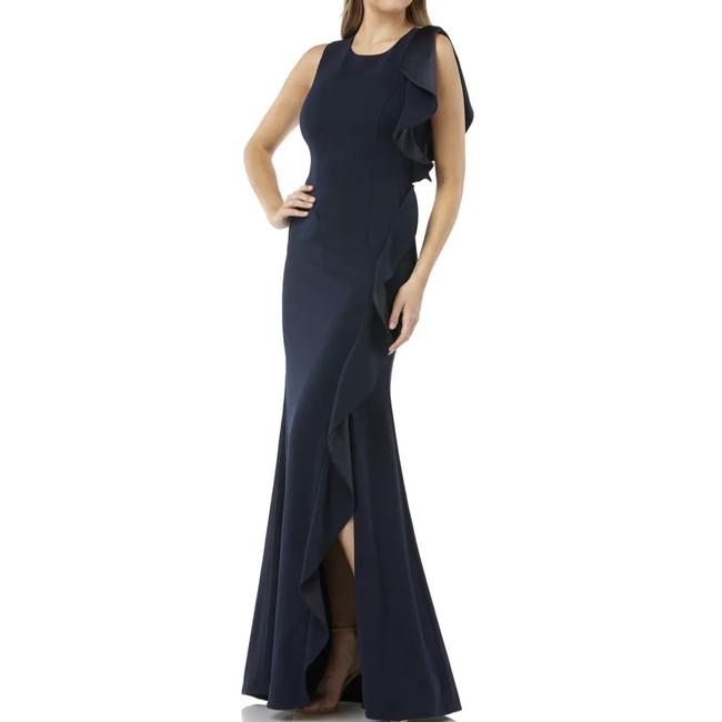 Item - Navy Blue Infusion Ruffle Gown Long Formal Dress Size 6 (S)