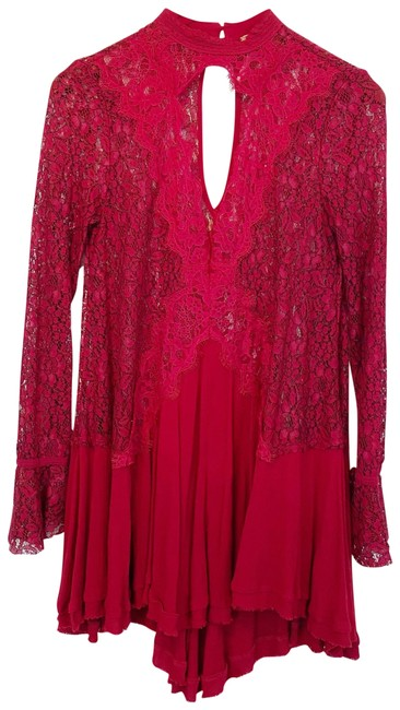 Item - Red Lacey Long Sleeve Short Cocktail Dress Size 2 (XS)