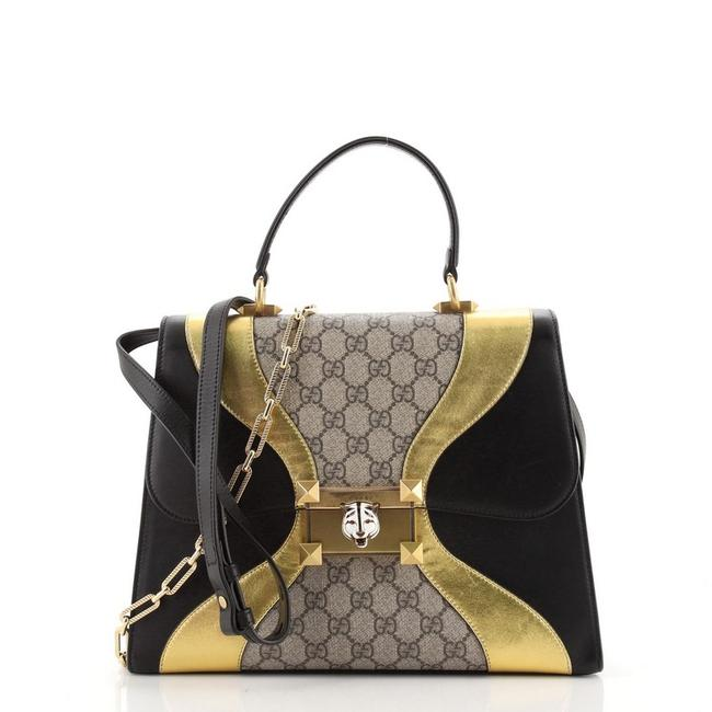 Item - Osiride Top Handle Bag Gg Coated and Medium Black Brown Gold Canvas Leather Tote