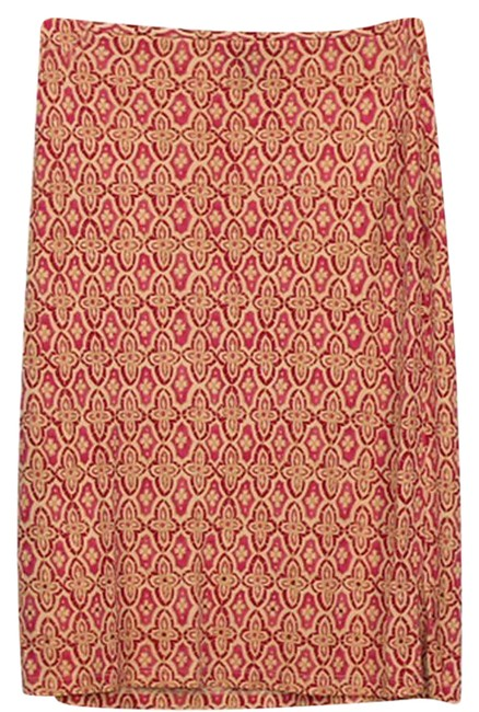 Item - Red Pink Stretch Damask Pattern with Bead Accents Skirt Size 2 (XS, 26)