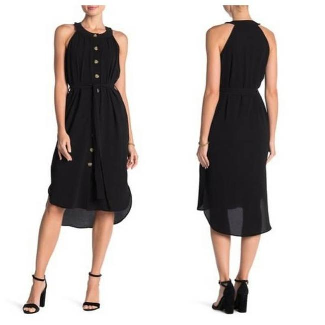 Item - Black Belted Button Front Midi Tortoise Sleeveless Medium Mid-length Cocktail Dress Size 10 (M)