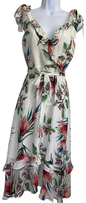 Item - White Green New Maxi Belted Msrp 375 Long Formal Dress Size 4 (S)