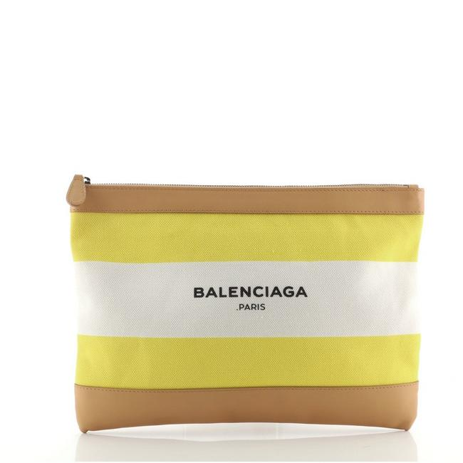 Item - Navy Zip Pouch and Large Multicolor Neutral Yellow Canvas Plain Leather Clutch