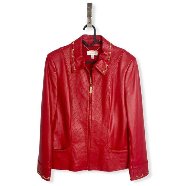 Item - Red Womens Lambs Quilted Full Zip Medium Jacket Size 8 (M)