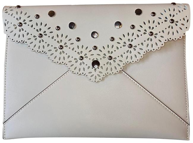Item - Leo In Eyelet White Leather Clutch