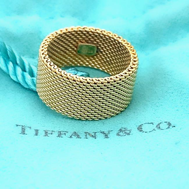Tiffany & Co. Yellow Gold 18kt 10 Mm Somerset Mesh Wide Ring Women's Wedding Band Tiffany & Co. Yellow Gold 18kt 10 Mm Somerset Mesh Wide Ring Women's Wedding Band Image 1