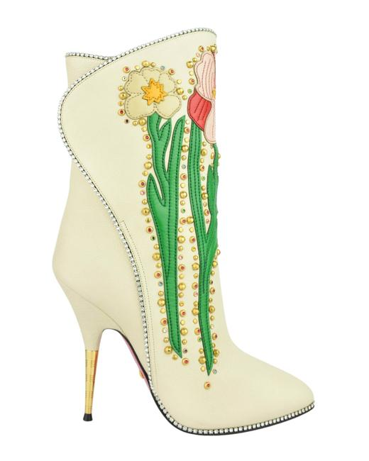 Item - Beige Multiple Fosca Applique and Crystal Trimmed Boots/Booties Size EU 37 (Approx. US 7) Regular (M, B)