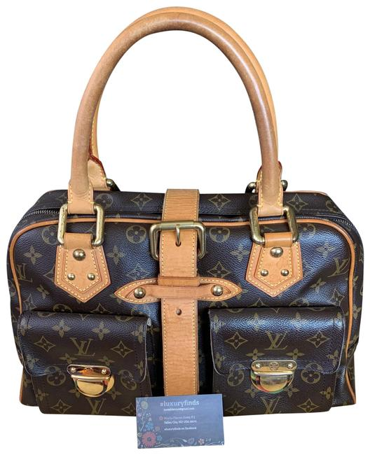 Item - Manhattan Gm Old Style Brown and Gold Canvas Satchel