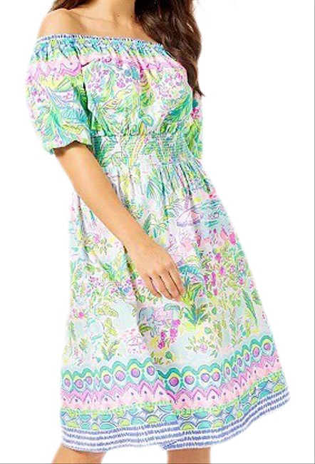 Item - Green Camille Island Hopping Mid-length Short Casual Dress Size 8 (M)