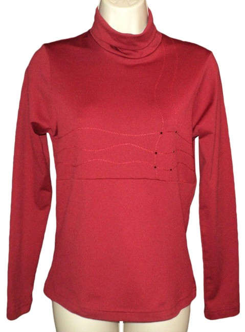 Item - Dark Red Base Layer Turtleneck Rhinestone Accents Activewear Top Size 2 (XS)