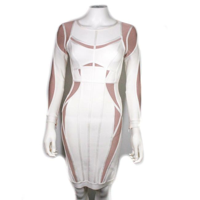 Item - White - Beige XS Angelique Bodycon Color Block Midi Us Short Night Out Dress Size 0 (XS)
